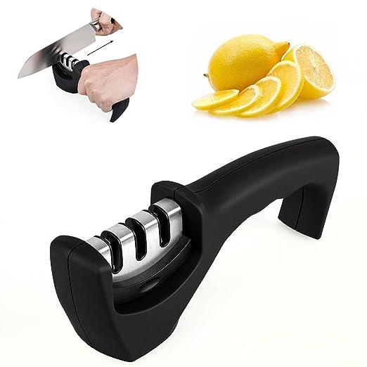 Surenhap Afilador de Cuchillos,máquina de sacapuntas con Mango Cocina Profesional Sistema de Trabajo de Afilado Plegable