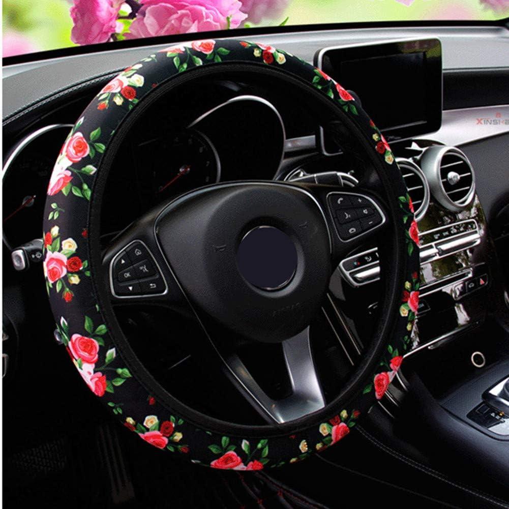 KAFEEK Elastic Rose Steering Wheel Cover,Cool in Summer Black Universal 15 inch