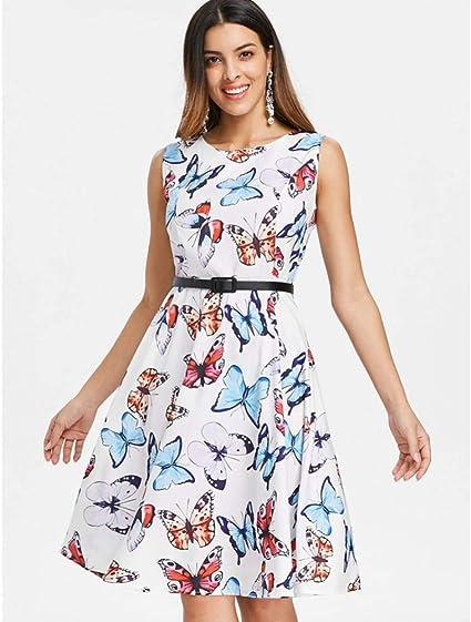 WDBXN Estampado de Mariposa Vestido Vintage de Las Mujeres 50 s ...