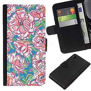 KLONGSHOP // Tirón de la caja Cartera de cuero con ranuras para tarjetas - Acuarela Patrón Primavera Arte - Sony Xperia Z2 D6502 //