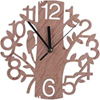 Gigicloud 22CM Stylish Wooden Tree-Shape Wall Clock Home Decoration Gift Wood Color