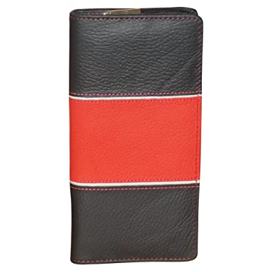Style98 Women's Designer Traveller Genuine Leather Tri Fold Money Wallet with 10 Card Slots Black and Red 33414IAC