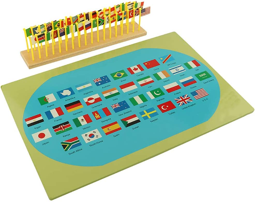 ROCK1ON Montessori Materiales de Aprendizaje de Geografía de Madera, Mapa del Mundo con 36 Bandera Nacional,Ayuda a la enseñanza de Jardín de Infantes,Juguete Educativo Regalo de niños y niñas