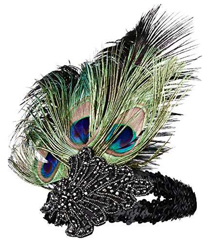 BABEYOND Roaring 20's Sequined Showgirl Flapper Headband with peacock Feather Plume (style-1) (Flapper Girls Dresses)