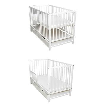 Baby Delux Babybett Schutzgitter Kinderbett 2in1 120x60 Wei/ß Matratze umbaubar zum Juniorbett Schublade