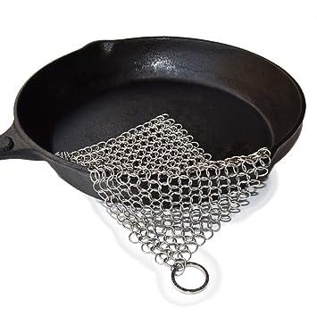 beeasy Hierro Fundido Limpiador Chainmail Scrubber para la de cocina de acero inoxidable antiadherente Sartén de