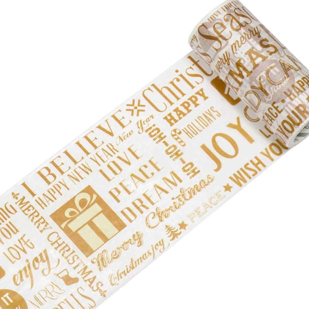 Hosaire Noël Bandes Ruban Adhésives Autocollants Motif de père de noël Washi Papier Bricolage Décoration de Calendrier Album Scrapbooking Papiers Noël Cadeaux 9cm*5m
