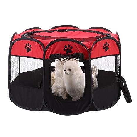 Awhao - Bolígrafo portátil plegable para mascotas, perros, gatos, conejos, 8 lados