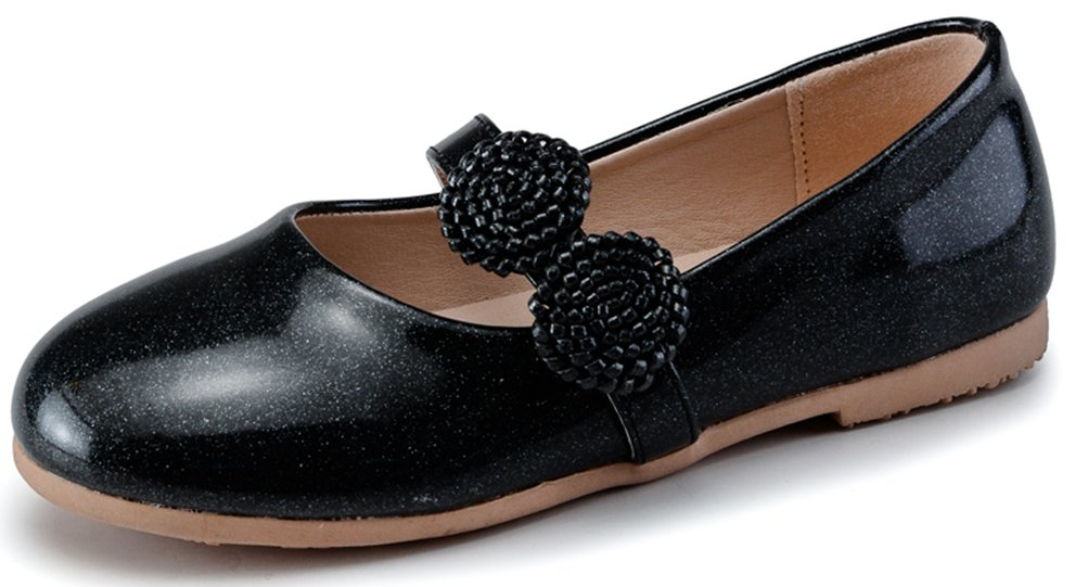 VECJUNIA Girl's Fashion Synthetic Patent Leather Flats Breathable Elastic Mary-Jane Shoes With Flowers (Black, 10.5 M US Little Kid) by VECJUNIA