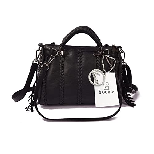 45a5dcf67b7a Amazon.com  Yoome Soft Leather Streakiness Large Capacity Tassels Boho Bags  For Women Crossbody Tote Purses - Black  Clothing