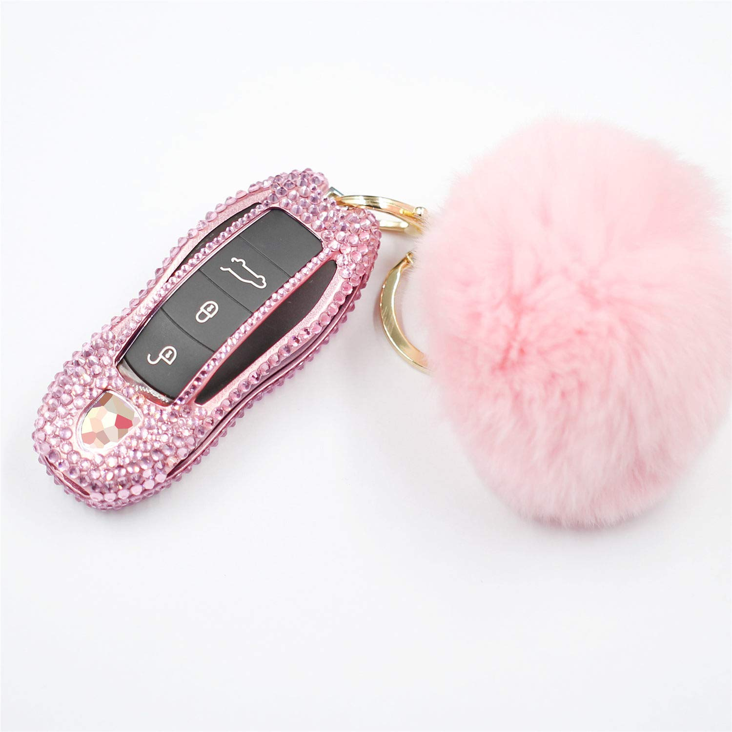 M.JVisun Handmade Car Key Fob Cover for Porsche Remote Fob, Diamond Key Case Cover Fits Porsche 718 911 918 Panamera Macan Cayenne Boxster Cayman, Bling Crystals Aluminum Key Cover Protector - Pink