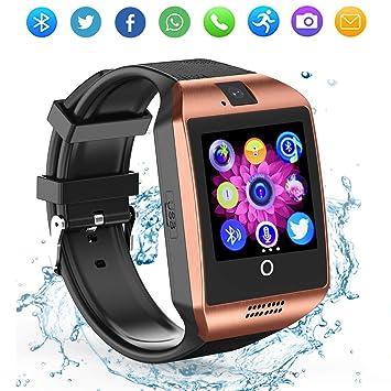 ZRSJ Reloj inteligente Bluetooth con cámara, reloj desbloqueado del teléfono celular Ranura para tarjeta SIM Reloj con pantalla táctil Smartwatch para ...