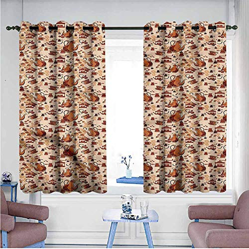Basket Weave Coffee Grinder - SAMEK Grommet Curtains,Coffee Grinders and Brewers Design,Insulated with Grommet Curtains for Bedroom,W55x72L
