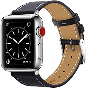 Marge Plus Compatible with Apple Watch Band 38mm 40mm, Genuine Leather Replacement Band Compatible with Apple Watch Series 5 4 (40mm) Series 3 2 1 (38mm), Black Band/Silver Adapter