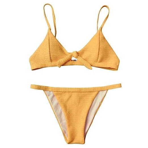 3cdb7899be5 Amazon.com: NewKelly Women Knotted Padded Thong Bikini, Mid Waisted Scoop  Swimsuit Beach Swimwear: Clothing