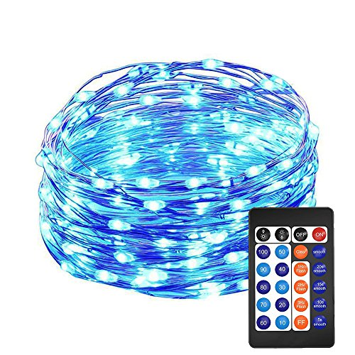 @HAHOME Dimmable Fairy String Lights 33Ft 100 LEDs Starry Lights with Power Supply and Remote,Blue