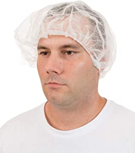 International Enviroguard Polypropylene Disposable Bouffants Hair Net Caps [Latex Free] for Hospitals, Medical, Health, Doctor, Labs, Nurse, Food Service, Salon - Pleated White (21
