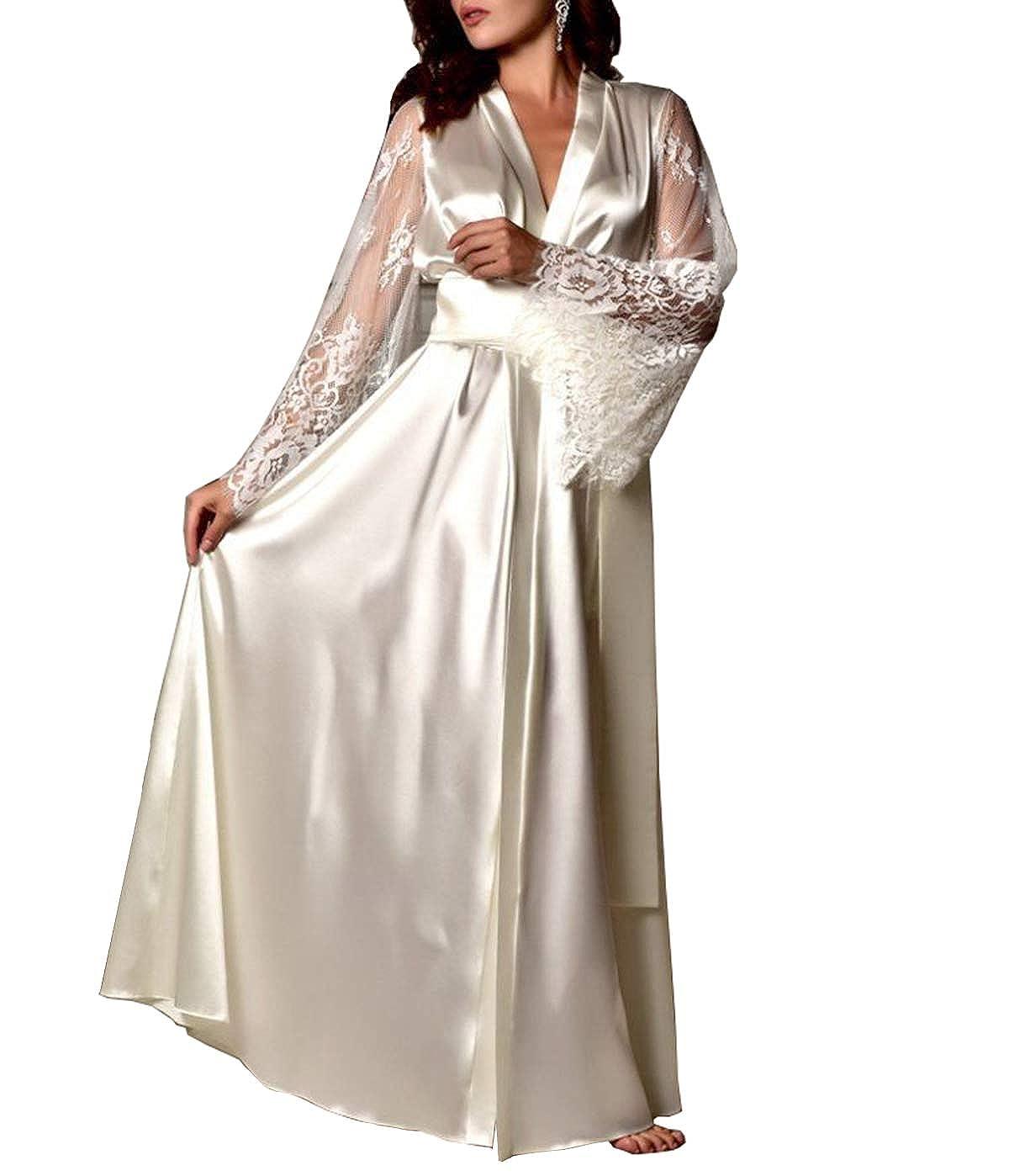 air-SMART Womens Lace Trim Kimonos Robes Long Satin Dressing Gown Bathrobe Sleepwear