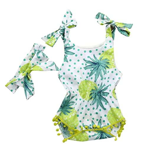 180173226705 Sumen Newborn Baby Girl Summer Outfit Set Tropical Fruits Print Tassel Strap  Romper Jumpsuit +Bowknot