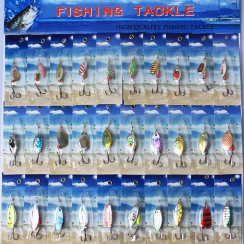 TopOne NEW 30x New PACKAGE Assorted Metal SpinnerBaits Fishing Spoon Lures Salmon - Shops Mall Somerset