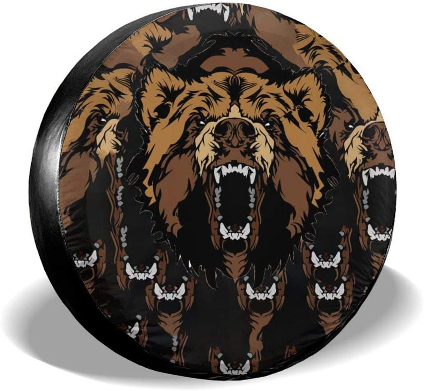 Off-Road Vehicles and Many Vehicles UU Wild Brown Bear tire Cover Polyester Universal dustproof and Waterproof Wheel Cover for Trailers 15 inches, tire Diameter 70-75cm