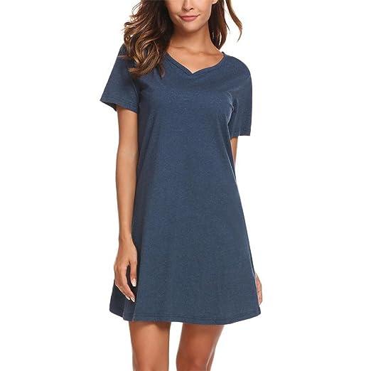 XILALASON Casual Night Dress Sleepwear Cotton Lounge Dress Female Night  Sleeping Dress Dark Blue S 93bc43964