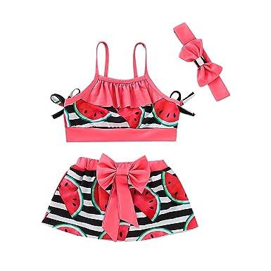 ada1b79ee2 Amazon.com: Toddler Baby Girls Bikini Kid Watermelon Beach Swimsuit Bow Bathing  Suit Swimwear 3Pcs Set Swimsuit: Clothing