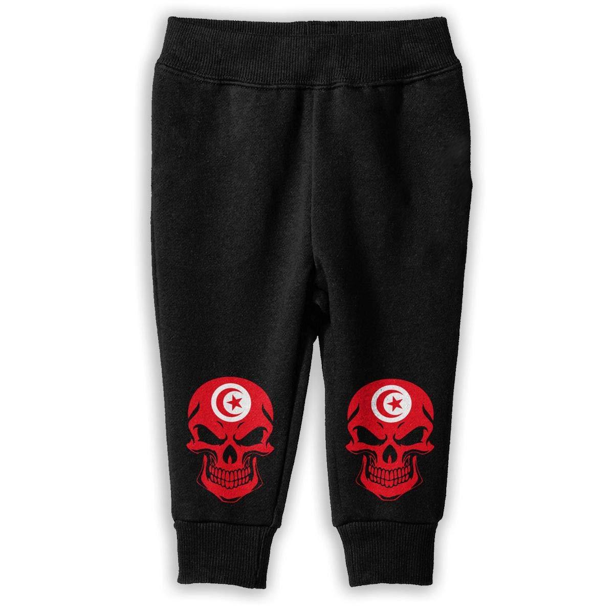 NJKM5MJ Tunisia Flag Skull Sweatpants Little Girls Athletic Pants