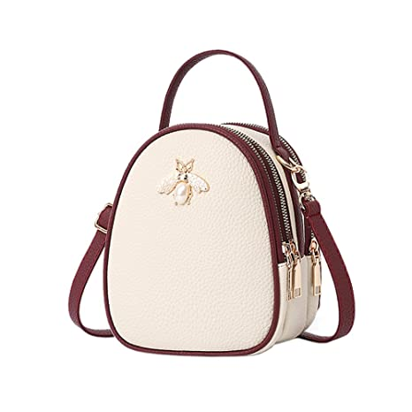ff03be2ca93d Womens Small Leather Backpack Purses Lovely Fashion Crossbody Shoulder Bag  with Three Multilayer Pockets for Girls