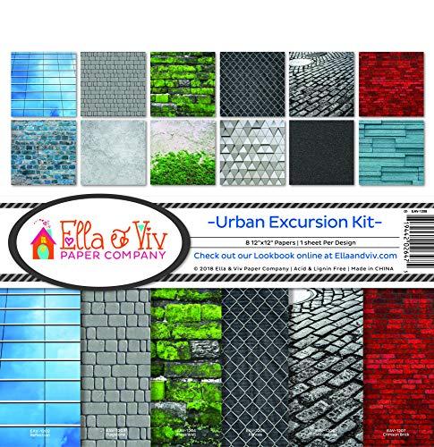 Ella & Viv by Reminisce EAV-1208 Urban Excursion Scrapbook Collection Kit, Multicolor