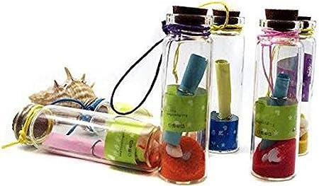 6 UNIDS Color Botella de Deseos Al Azar Botella Decorativa de Cuarzo Arena Mini Carro Pantalla de Botellas de Deriva Frascos de Vidrio Vial Contenedor para Niños Regalo de Cumpleaños Boda: Amazon.es: