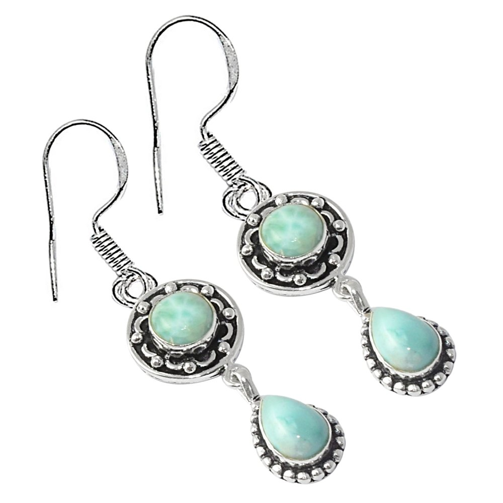 SILVERART Genuine Cabochon Larimar 925 Silver Plated High Polished Earring