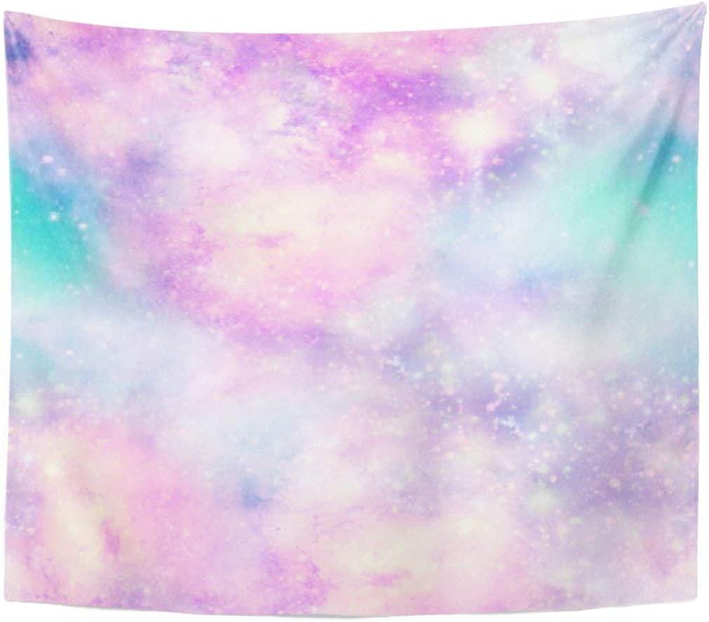 Fashion Tapestry Pink Pastel Unicorn Colours Galaxy Universe in Blue Mermaid Home Decor Wall Hanging for Living Room Bedroom Dorm 50x60 Inches