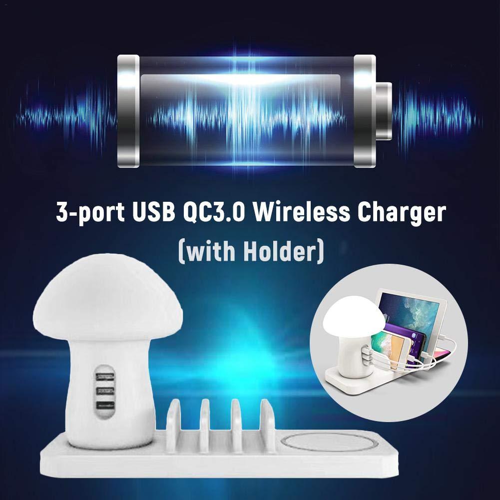 biteatey Station de Chargement USB pour Plusieurs appareils Champignon LED Lampe,Quick Charge Chargeur Multiple USB