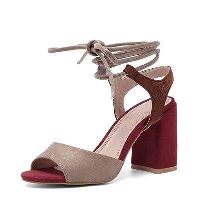 bbb89634632 Women's Summer T-Shaped Wood-Tone Buckle Block Suede Open Toe Heel Pump  Sandals