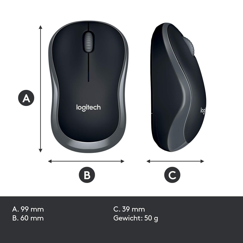 5 St/ück, Tastatur MK270 Logitech MK270 Combo Tastatur und kabellose Maus kabellosem Nano-Empf/änger schwarz QWERTZ- Deutsches Tastaturlayout