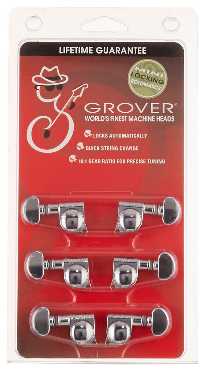 Grover 406C Rotomatic Mini 3 per Side Self Locking Machine Heads, Chrome KMC Music Inc