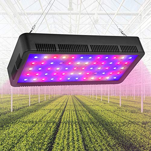 Comzler LED Grow Light, Grow Lights for Indoor Plants – 600W Full Spectrum Growing Lamp with UV&IR, Double Switch Veg and Bloom,Plant Lights with Adjustable Rope