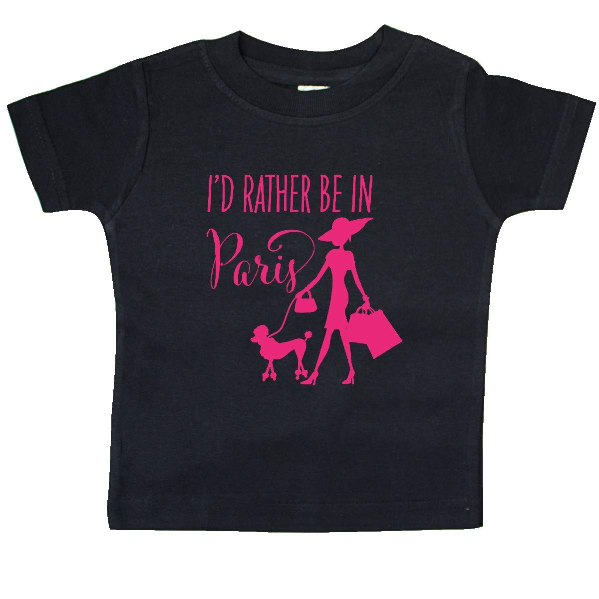 Shopping and Travel in Pink Baby T-Shirt inktastic Id Rather Be in Paris
