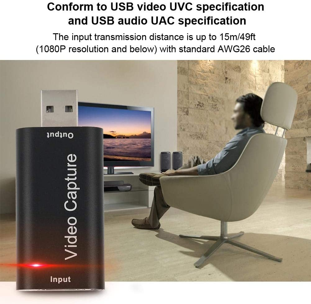ASHATA Mini USB2.0 HDMI 1080P Video Recording Capture Card Box for Windows//Android//IOS,Conform to USB Video UVC Specification and USB Audio UAC Specification.