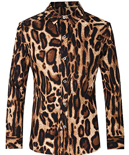 Vska Mens Leopard Print Long Sleeve Button Down Slim Fit Shirts 1 XL