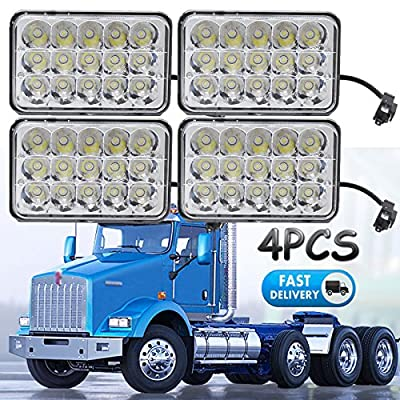 4x6 Sealed Beam LED Headlights for Kenworth T800 T400 T600 W900B W900L Classic 120/132, Rectangular H4656 H4 Conversion High Low Dual Beam Fog Main Lights (Package of 4)