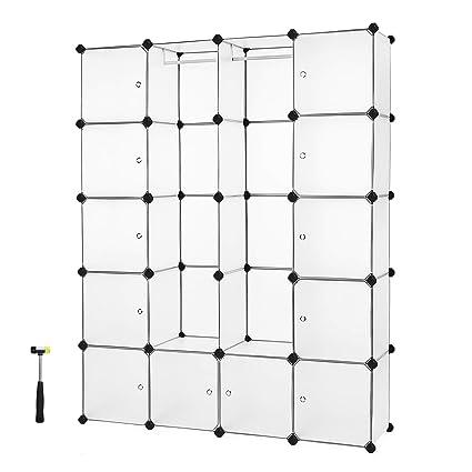 9d57dcf0e64b SONGMICS Interlocking Storage Cube Organiser Clothes Wardrobe Cabinet with  Hanging Rails 143 x 36 x 178 cm White LPC30W