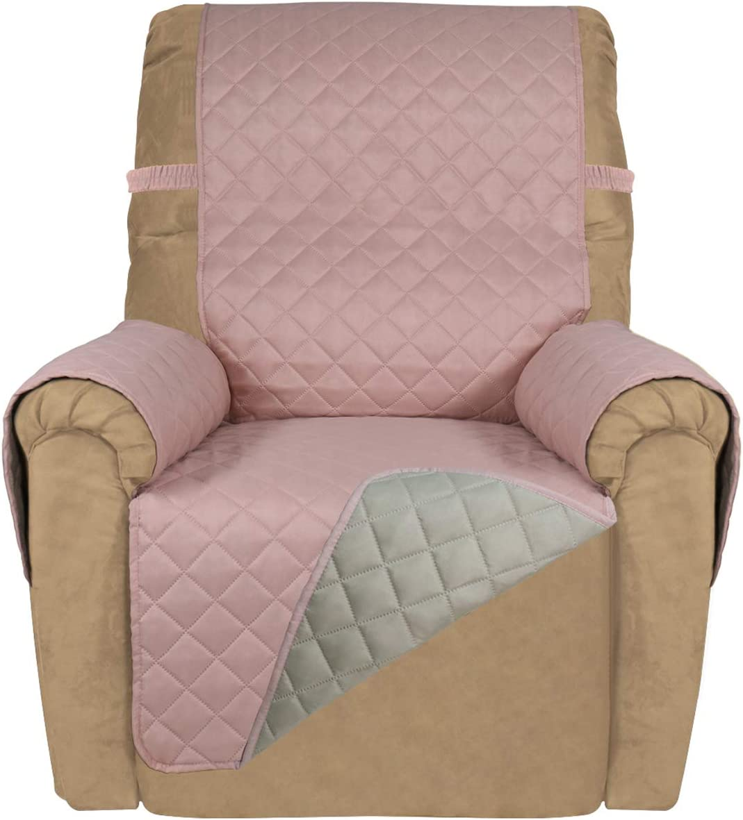 PureFit Reversible Quilted Recliner Sofa Cover, Water Resistant Slipcover Furniture Protector, Washable Couch Cover with Elastic Straps for Kids, Dogs, Pets (Recliner, Pink/Beige)