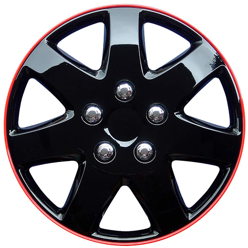 AUTOSTYLE Tapacubos Michigan Ice Negro/Red Rim - Tapacubos (4 ...