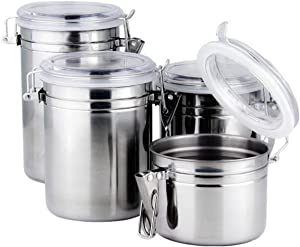 Foraineam 4-Piece Stainless Steel Airtight Canister Set with Clear Arylic Lid and Locking Clamp Food Storage Container Flour Canisters for Coffee, Tea, Snacks
