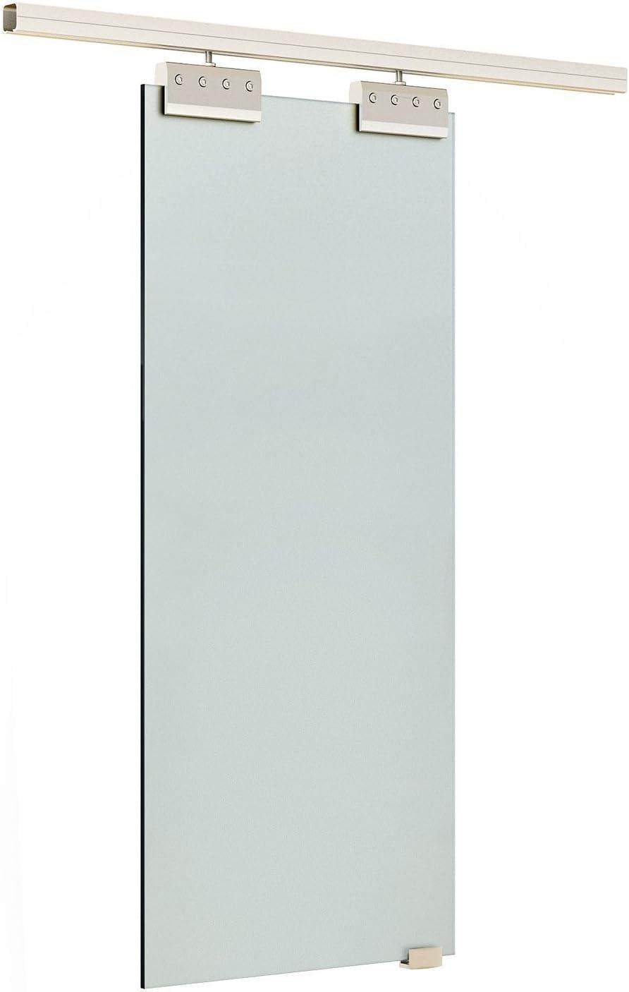 HOMCOM Puerta Corredera 205x90cm Puertas Vidrio Corrediza Deslizante Cristal sin obra