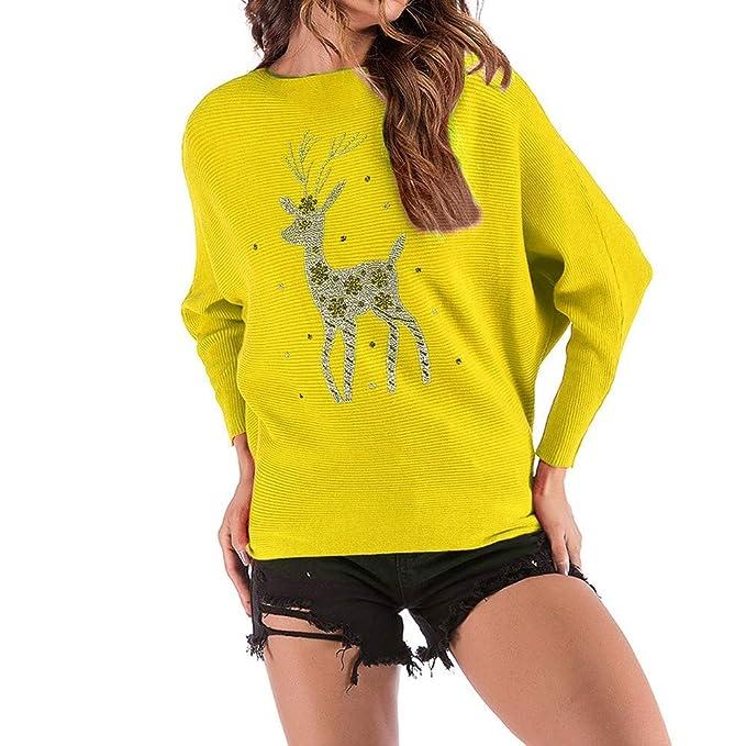 Vectry Rebajas Camiseta Mujer Camiseta con Manga Larga Camiseta con Patrón De Alce Sudadera Ligera Sudadera De Moda: Amazon.es: Ropa y accesorios