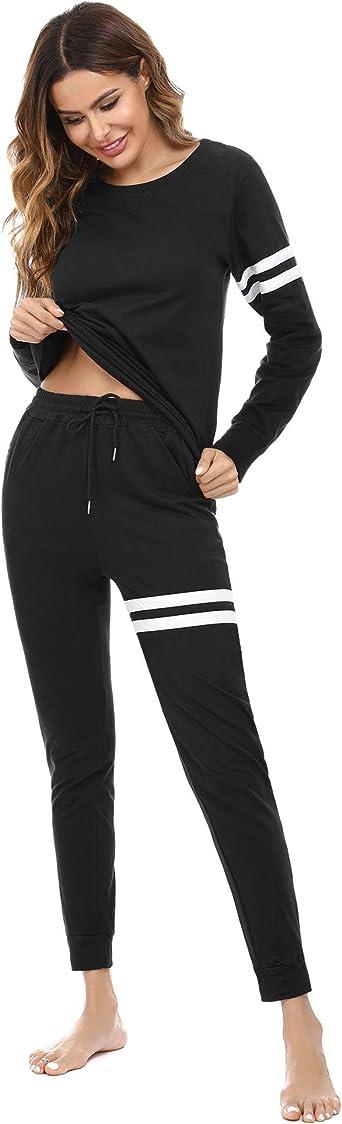 Doaraha Pijamas Mujer Manga Larga 100% Algodón 2 Piezas Ropa de Dormir Rayas Camisetas y Pantalones Largo