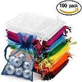 Solawill 100 Pcs Sachets Pochettes Cadeau en Organza Multicolore Pochette Cordon de Serrage Sachets pour Bonbon Bijoux Mariage Anniversaire Partie 15x10cm